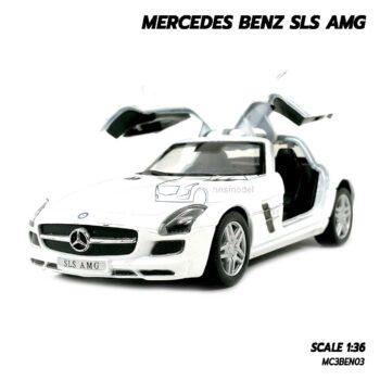 โมเดลรถเบนซ์ Mercedes Benz SLS AMG สีขาว (Scale 1:36) โมเดลรถเหล็ก ประกอบสำเร็จ เปิดประตูปีกนกได้