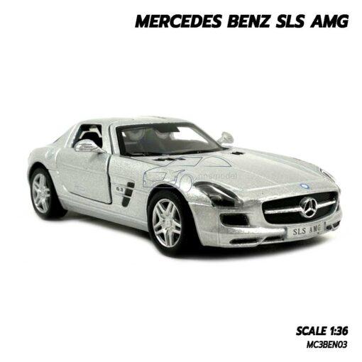 โมเดลรถเบนซ์ Mercedes Benz SLS AMG สีบรอนด์เงิน (Scale 1:36) โมเดลรถ ประกอบสำเร็จ