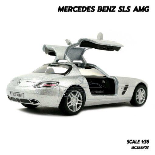 โมเดลรถเบนซ์ Mercedes Benz SLS AMG สีบรอนด์เงิน (Scale 1:36) โมเดลรถ ภายในจำลองเหมือนจริง