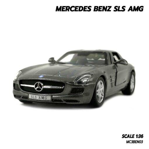 โมเดลรถเบนซ์ Mercedes Benz SLS AMG สีเทา (Scale 1:36) โมเดลรถสะสม