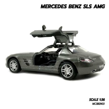 โมเดลรถเบนซ์ Mercedes Benz SLS AMG สีเทา (Scale 1:36) โมเดลรถ ภายในรถจำลองสมจริง