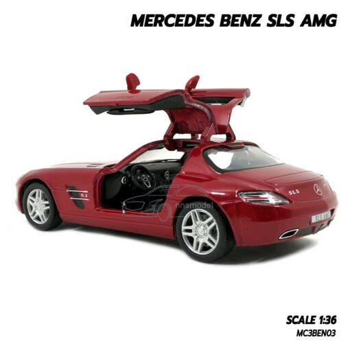โมเดลรถเบนซ์ Mercedes Benz SLS AMG สีแดง (Scale 1:36) โมเดลรถเหล็ก ภายในรถจำลองสมจริง