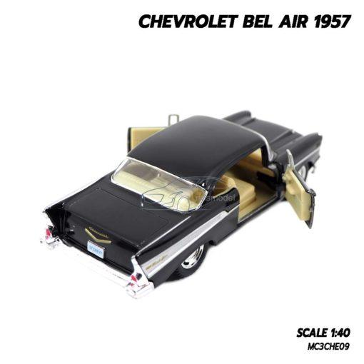 โมเดลรถเหล็ก CHEVROLET BEL AIR 1957 สีดำ โมเดลคลาสสิค มีลานดึงปล่อยรถวิ่งได้