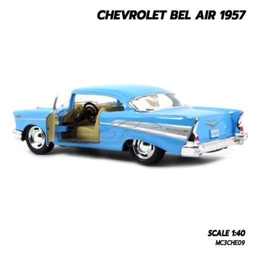 โมเดลรถเหล็ก CHEVROLET BEL AIR 1957 สีฟ้า รถของเล่น มีลาน