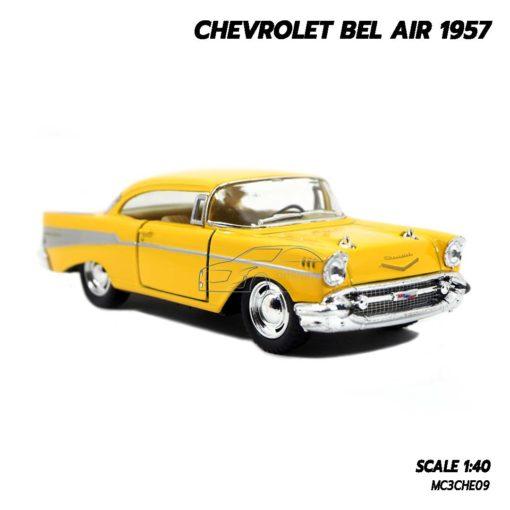 โมเดลรถเหล็ก CHEVROLET BEL AIR 1957 สีเหลือง โมเดลรถคลาสสิค พร้อมตั้งโชว์