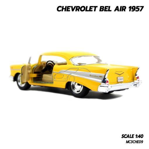 โมเดลรถเหล็ก CHEVROLET BEL AIR 1957 สีเหลือง โมเดลรถคลาสสิค เหมือนจริง