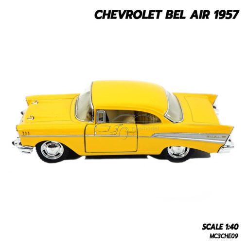 โมเดลรถเหล็ก CHEVROLET BEL AIR 1957 สีเหลือง โมเดลรถคลาสสิค น่าสะสม