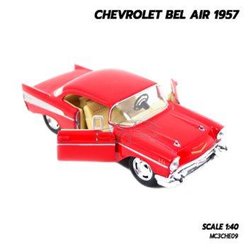 โมเดลรถเหล็ก CHEVROLET BEL AIR 1957 สีแดง โมเดลคลาสสิค จำลองเหมือนจริง