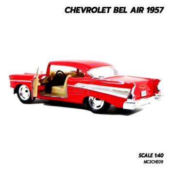 โมเดลรถเหล็ก CHEVROLET BEL AIR 1957 สีแดง โมเดลคลาสสิค ภายในเหมือนจริง