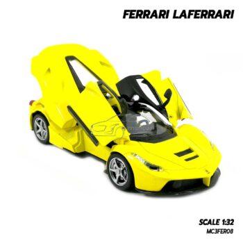 โมเดลรถ เฟอร์รารี่ Ferrari Laferrari สีเหลือง (Scale 1:32) โมเดลรถสปอร์ต เปิดประตูปีกนกได้
