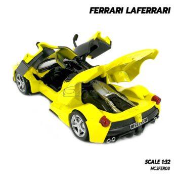 โมเดลรถ เฟอร์รารี่ Ferrari Laferrari สีเหลือง (Scale 1:32) โมเดลรถสปอร์ต เปิดประตูปีกนกได้ เครื่องยนต์จำลองเหมือนจริง