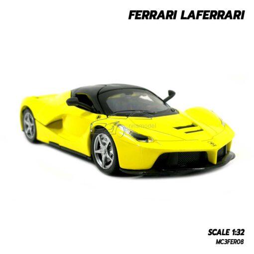 โมเดลรถ เฟอร์รารี่ Ferrari Laferrari สีเหลือง (Scale 1:32) โมเดลรถสปอร์ต เปิดประตูปีกนกได้ พร้อมตั้งโชว์