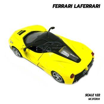 โมเดลรถ เฟอร์รารี่ Ferrari Laferrari สีเหลือง (Scale 1:32) โมเดลรถเหล็ก เปิดประตูปีกนกได้ พร้อมตั้งโชว์