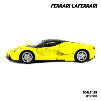 โมเดลรถ เฟอร์รารี่ Ferrari Laferrari สีเหลือง (Scale 1:32) โมเดลรถเหล็ก พร้อมตั้งโชว์ มีลานวิ่งได้