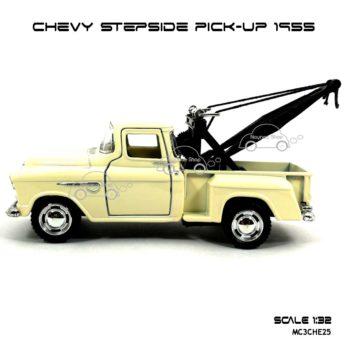 โมเดลรถยก CHEVY STEPSIDE PICK UP 1955 สีขาวครีม (1:32) เปิดประตูได้