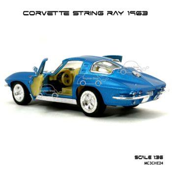 โมเดลรถ CORVETTE STRING RAY 1963 สีฟ้า (1:36) ภายในรถ เหมือนจริง