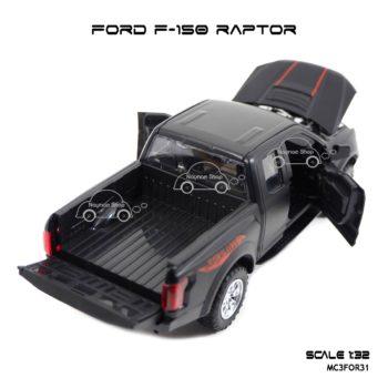 โมเดลรถ FORD F-150 RAPTOR สีดำด้าน (1:32) ฟอร์ดแร็พเตอร์ เปิดกระบะท้ายรถและกระโปรงหน้าได้