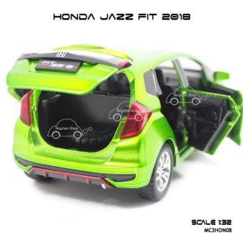 โมเดล honda jazz fit 2018 สีเขียว (1:32) ฝากระโปรงท้ายรถ เปิดได้
