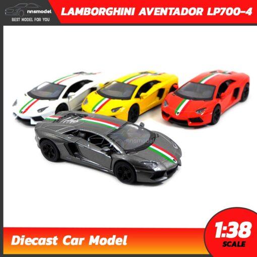 โมเดลรถ LAMBORGHINI AVENTADOR LP700-4 คาดลาย (Scale 1:38) โมเดลรถแลมโบ รุ่นขายดี