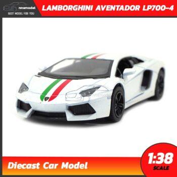 โมเดลรถ LAMBORGHINI AVENTADOR LP700-4 สีขาวคาดลาย (Scale 1:38) โมเดลรถเหล็ก model car