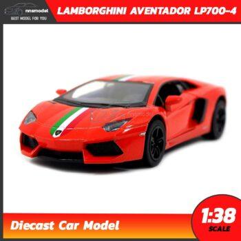 โมเดลรถ LAMBORGHINI AVENTADOR LP700-4 สีส้มคาดลาย (Scale 1:38) โมเดลรถแลมโบ รุ่นขายดี