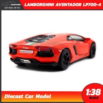 โมเดลรถ LAMBORGHINI AVENTADOR LP700-4 สีส้มคาดลาย (Scale 1:38) โมเดลรถแลมโบ ประกอบสำเร็จ
