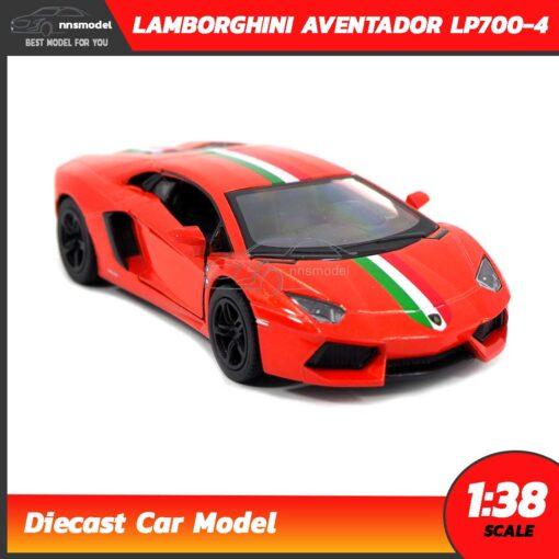 โมเดลรถ LAMBORGHINI AVENTADOR LP700-4 สีส้มคาดลาย (Scale 1:38) โมเดลรถแลมโบ ประกอบสำเร็จ จำลองเหมือนจริง