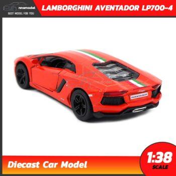 โมเดลรถ LAMBORGHINI AVENTADOR LP700-4 สีส้มคาดลาย (Scale 1:38) โมเดลรถแลมโบ ประกอบสำเร็จ Diecast Model