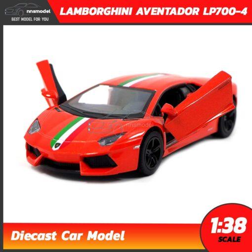 โมเดลรถ LAMBORGHINI AVENTADOR LP700-4 สีส้มคาดลาย (Scale 1:38) โมเดลรถแลมโบ ประกอบสำเร็จ เปิดประตูปีกนกได้