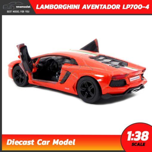 โมเดลรถ LAMBORGHINI AVENTADOR LP700-4 สีส้มคาดลาย (Scale 1:38) โมเดลรถแลมโบ ประกอบสำเร็จ ภายในจำลองเหมือนจริง