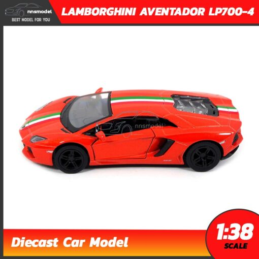โมเดลรถ LAMBORGHINI AVENTADOR LP700-4 สีส้มคาดลาย (Scale 1:38) โมเดลรถเหล็ก พร้อมตั้งโชว์