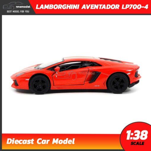 โมเดลรถ LAMBORGHINI AVENTADOR LP700-4 สีส้มคาดลาย (Scale 1:38) โมเดลรถเหล็ก มีลานวิ่งได้