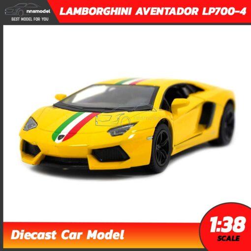 โมเดลรถ LAMBORGHINI AVENTADOR LP700-4 สีเหลืองคาดลาย (Scale 1:38) โมเดลรถเหล็ก model car