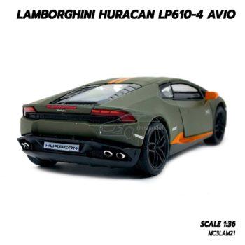 โมเดลรถ LAMBORGHINI HURACAN LP610-4 AVIO (1:36) สีเขียวขี้ม้า รถเหล็กจำลองเหมือนจริง
