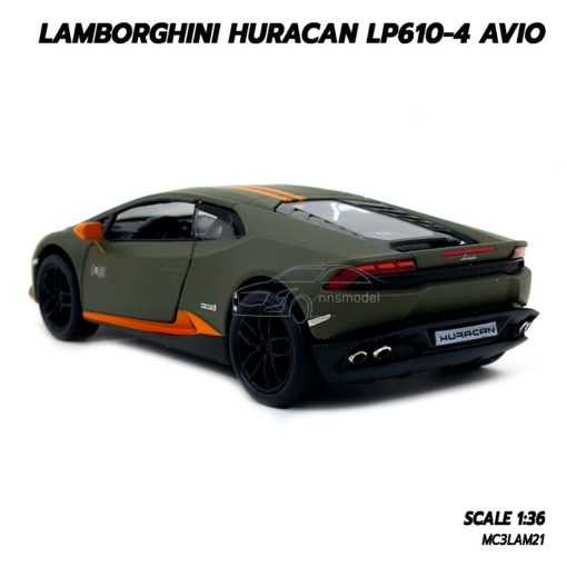 โมเดลรถ LAMBORGHINI HURACAN LP610-4 AVIO (1:36) สีเขียวขี้ม้า โมเดลรถประกอบสำเร็จ