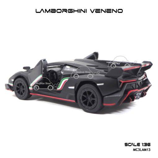 โมเดลรถเหล็ก LAMBORGHINI VENENO สีดำด้าน (1:36) ภายในรถเหมือนจริง