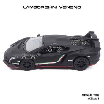 โมเดลรถเหล็ก LAMBORGHINI VENENO สีดำด้าน (1:36) โมเดลรถประกอบสำเร็จ