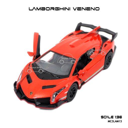 โมเดลรถ LAMBORGHINI VENENO สีส้ม (1:36) เปิดประตูปีกนกได้