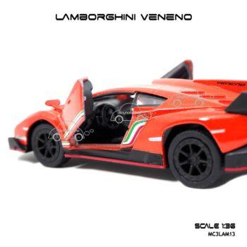 โมเดลรถ LAMBORGHINI VENENO สีส้ม (1:36) ภายในรถ จำลองเหมือนจริง