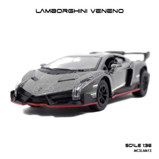 โมเดลรถ LAMBORGHINI VENENO สีเทา (1:36) รถโมเดลเหมือนจริง
