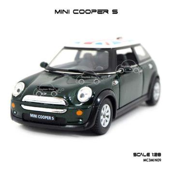 โมเดลรถ Mini Cooper S หลังคาลายธงชาติ สีเขียว