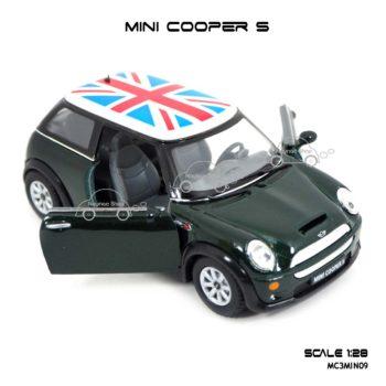 โมเดลรถ Mini Cooper S หลังคาลายธงชาติ สีเขียว สวยงามน่าสะสม