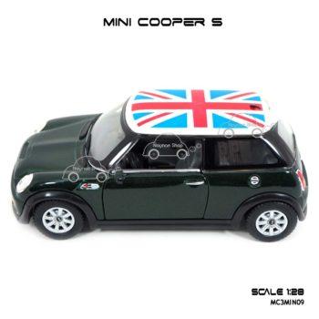 โมเดลรถ Mini Cooper S หลังคาลายธงชาติ สีเขียว จำลองเหมือนรถจริง