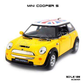 โมเดลรถ Mini Cooper S หลังคาลายธงชาติ สีเหลือง รถเหล็ก ราคาถูก