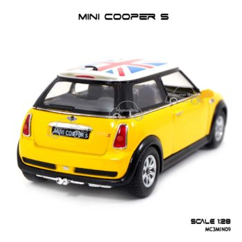 โมเดลรถ Mini Cooper S หลังคาลายธงชาติ สีเหลือง โมเดลสำเร็จ