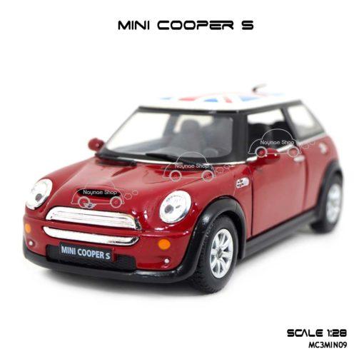โมเดลรถ Mini Cooper S หลังคาลายธงชาติ สีแดง