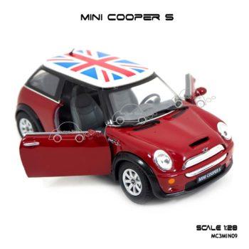 โมเดลรถ Mini Cooper S หลังคาลายธงชาติ สีแดง เปิดประตูซ้ายขวาได้