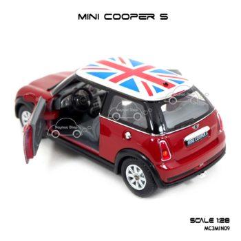 โมเดลรถ Mini Cooper S หลังคาลายธงชาติ สีแดง โมเดลประกอบสำเร็จ