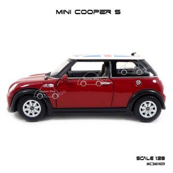 โมเดลรถ Mini Cooper S หลังคาลายธงชาติ สีแดง รถเหล็ก ราคาถูก