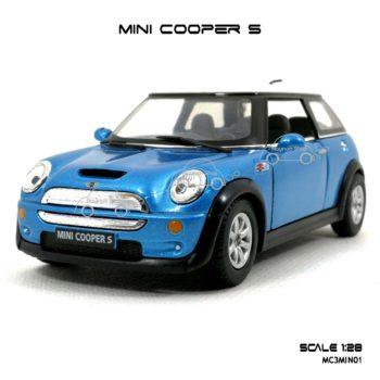 โมเดลรถ MINI COOPER S สีฟ้า (1:28)